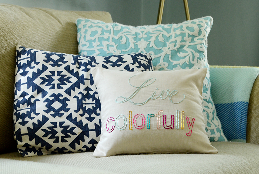 Decorative diy embroidered quote pillow
