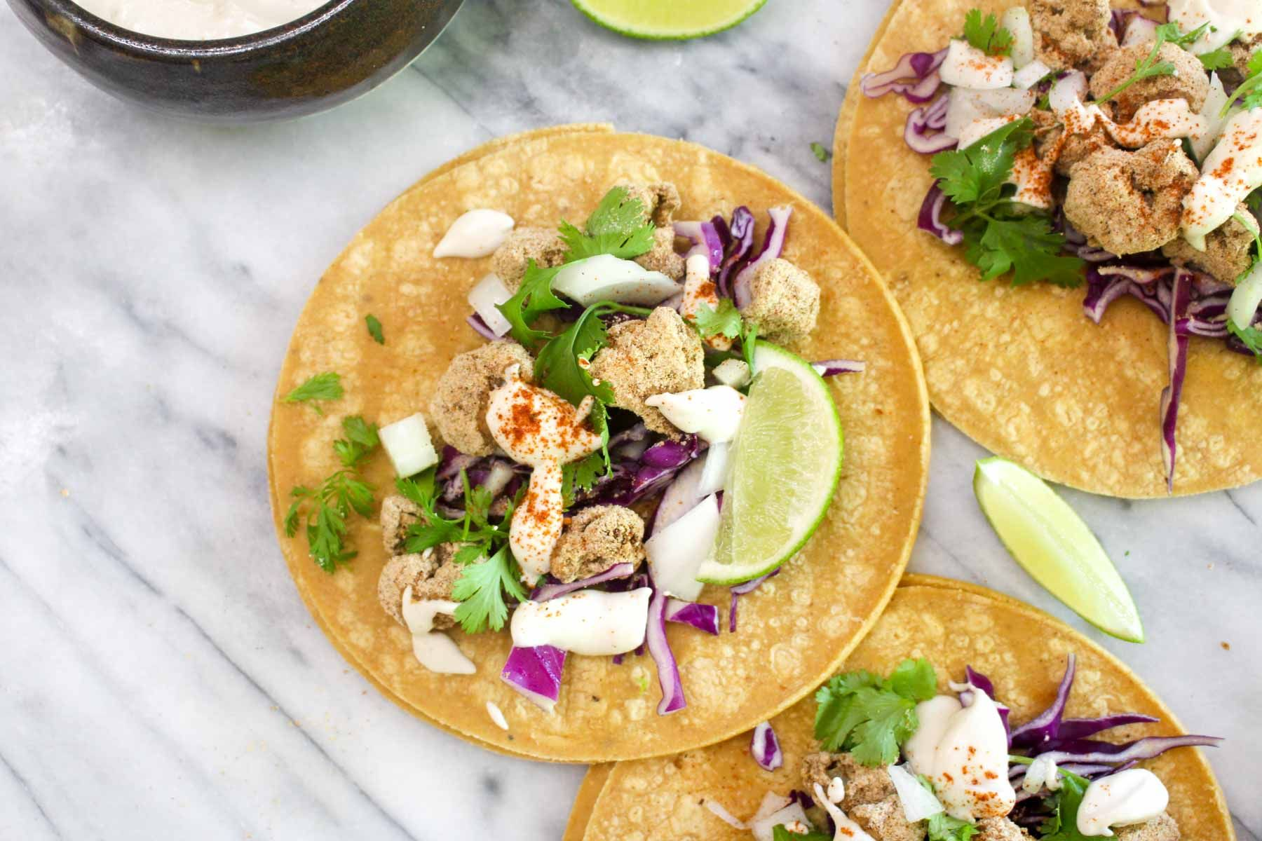 Delicious crispy cauliflower tacos