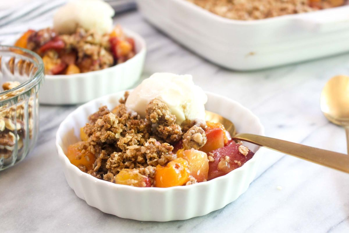 Delicious lightened up peach apricot crumble