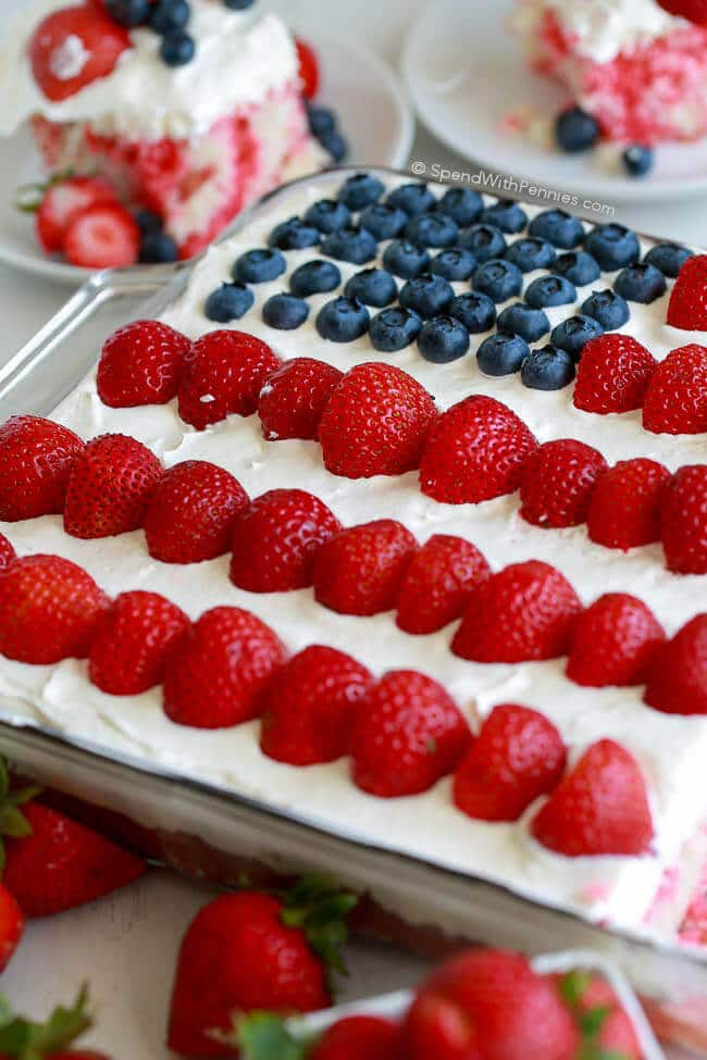 Flag cake with cheesecake topping 25