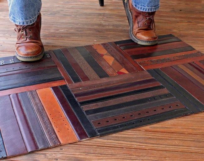 Leather belt mat