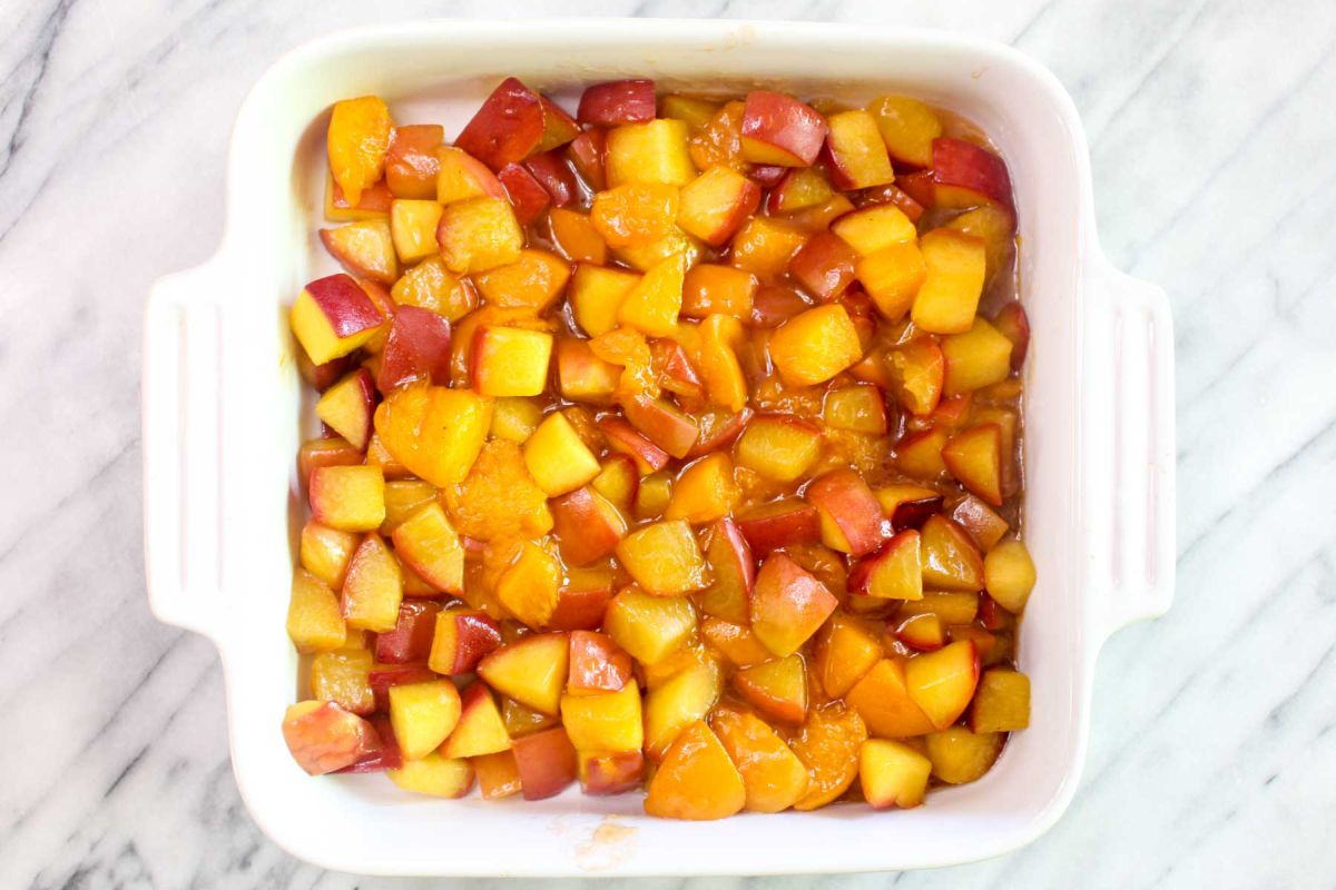 Lightened up peach apricot crumble baking dish