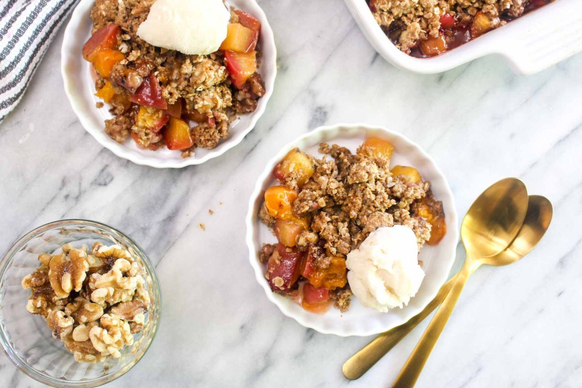 Lightened up peach apricot crumble