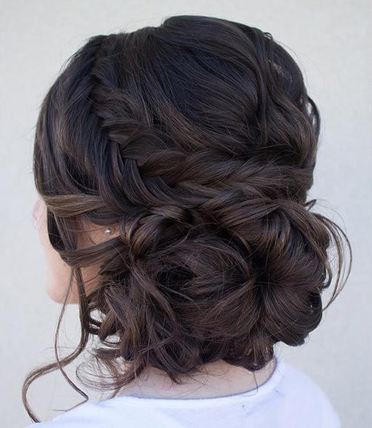 Loose inside out braid and a curly bun