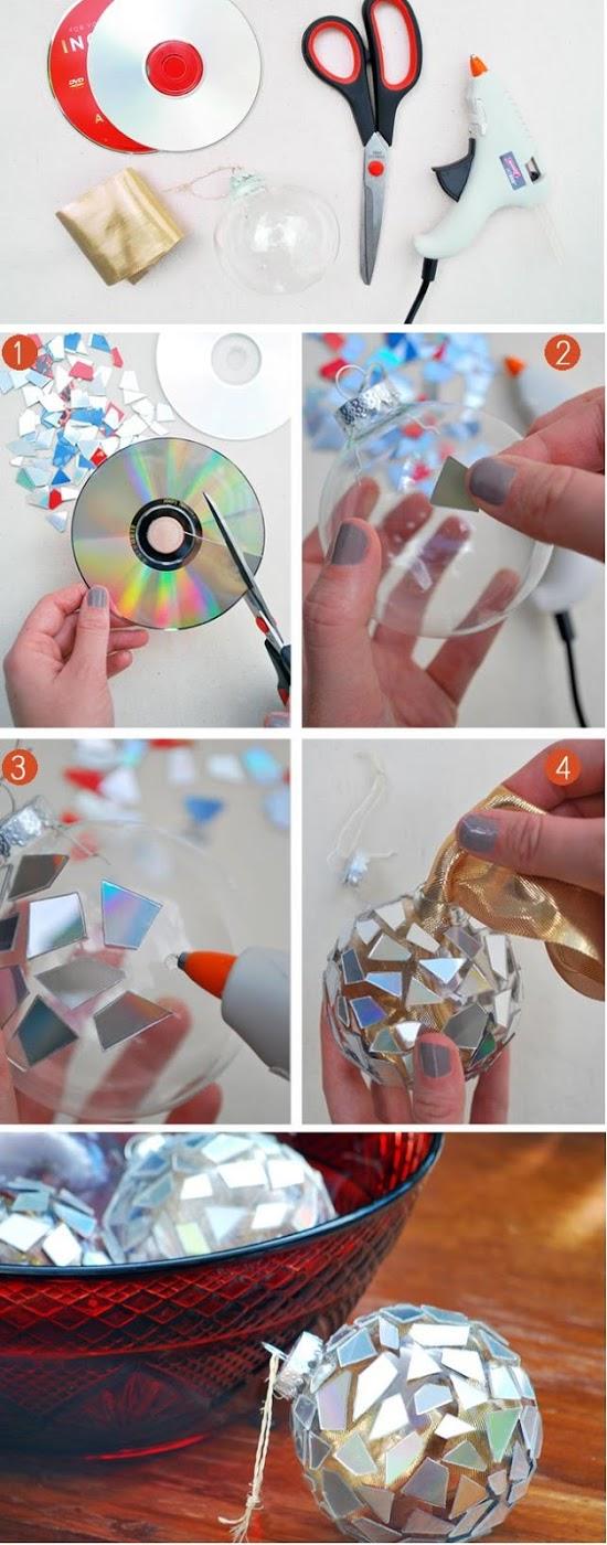 Mosaic cd ornaments
