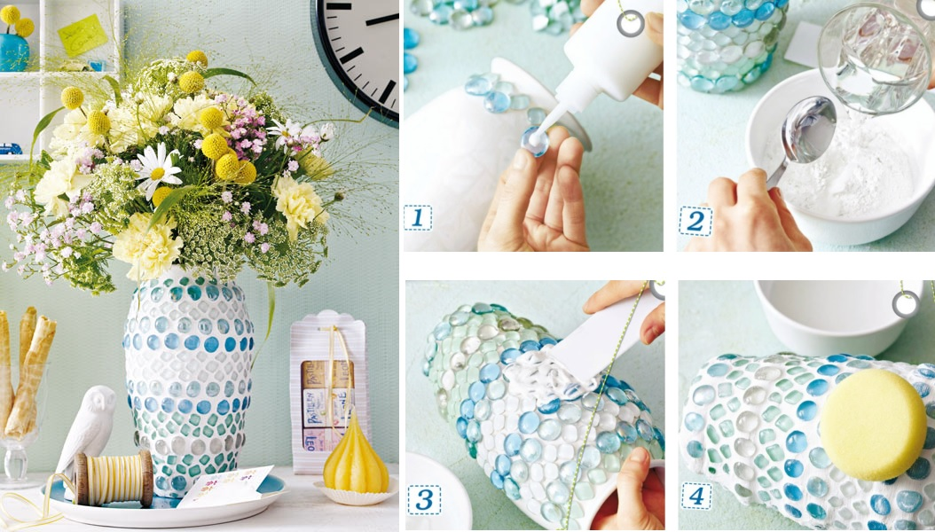 Mosaic flower vase diy