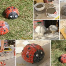 Mosaic lady bug garden sculpture