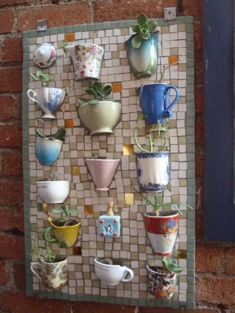 Mosaic teacup planter