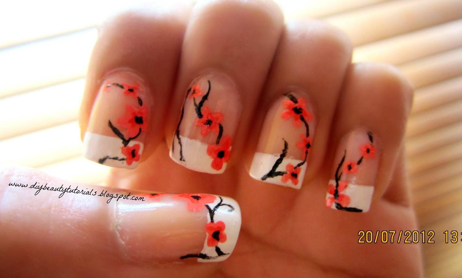 Orange cherry blossom nails