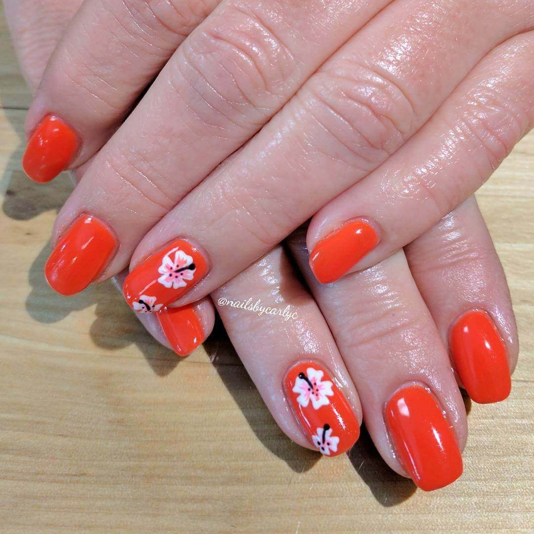 Orange with orchid accent fingers