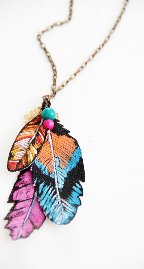 Painted canvas feather necklaces