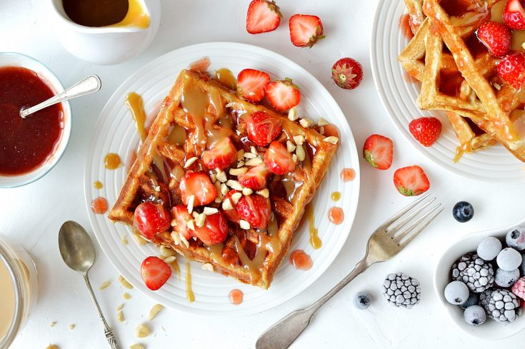Peanut butter and jelly waffles - the classic sandwich combination in waffle form!