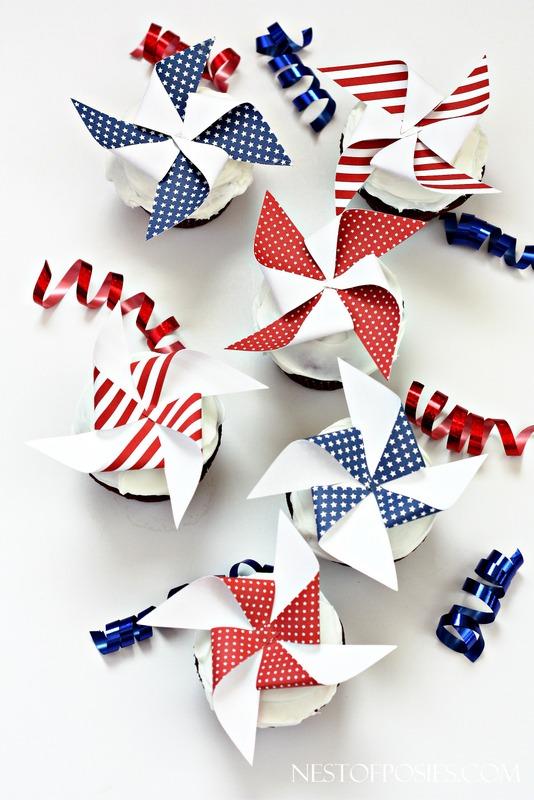 Printable pinwheel cupcake toppers