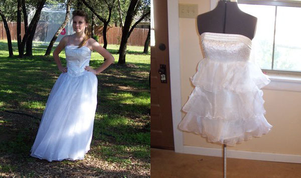 Prom gown into short dress
