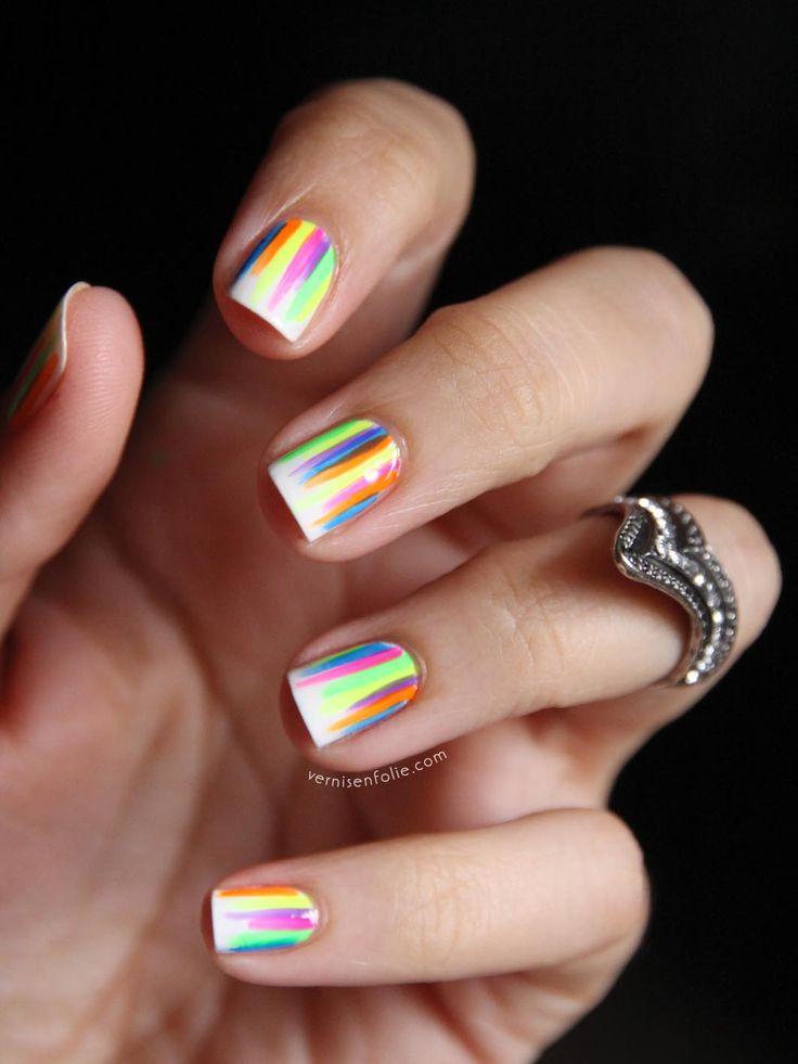 Rainbpw stripes with fluorescent orange