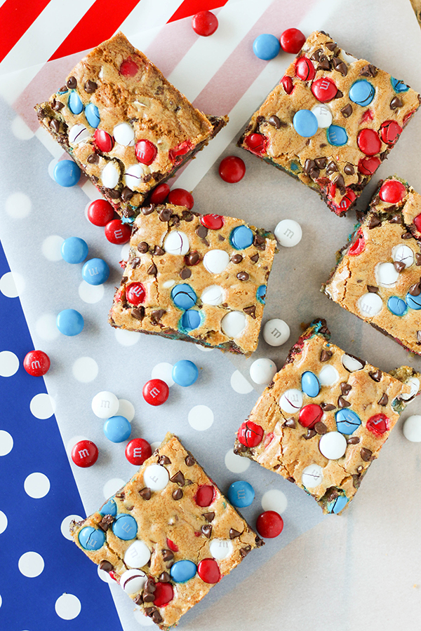 Red white and blue mms cookie bars 4