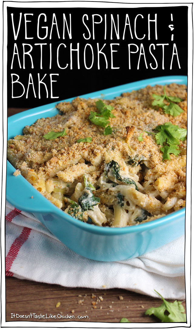 Spinach and artichoke pasta bake