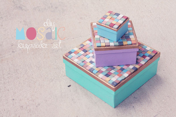 Stone tile mosaic keepsake boxes