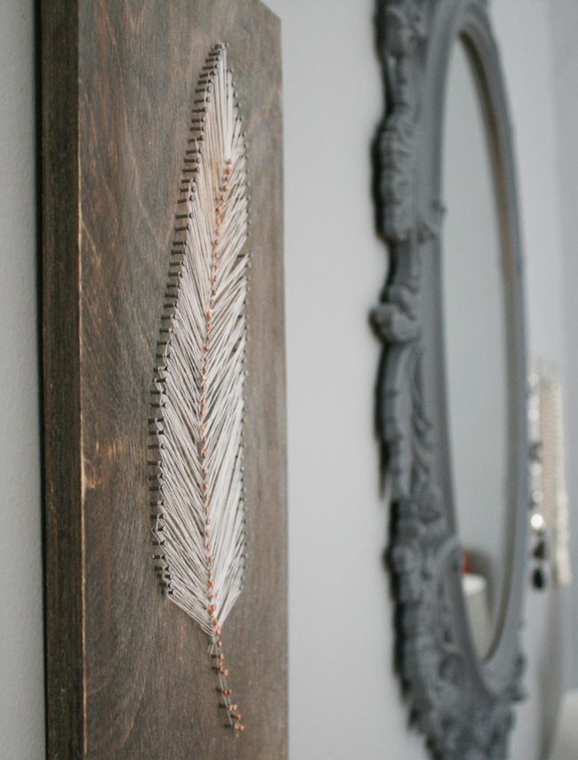 String art feather plaque
