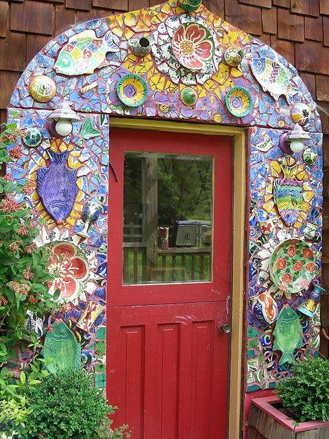 Stunning mosaic door frame