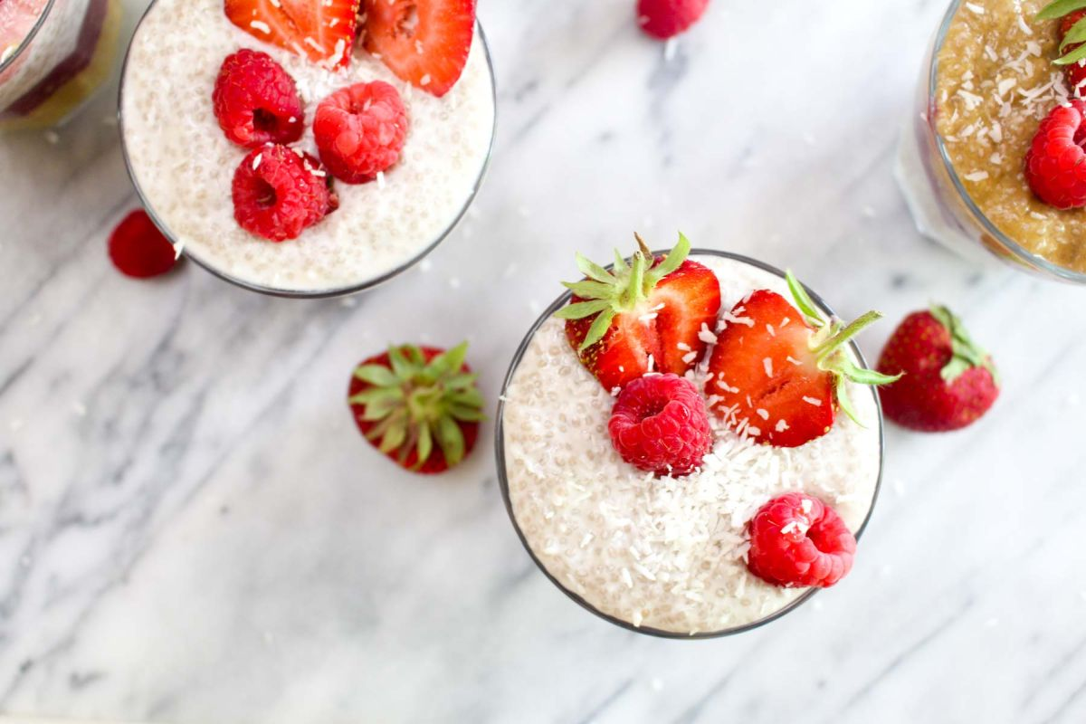 Summer rainbow chia seed pudding