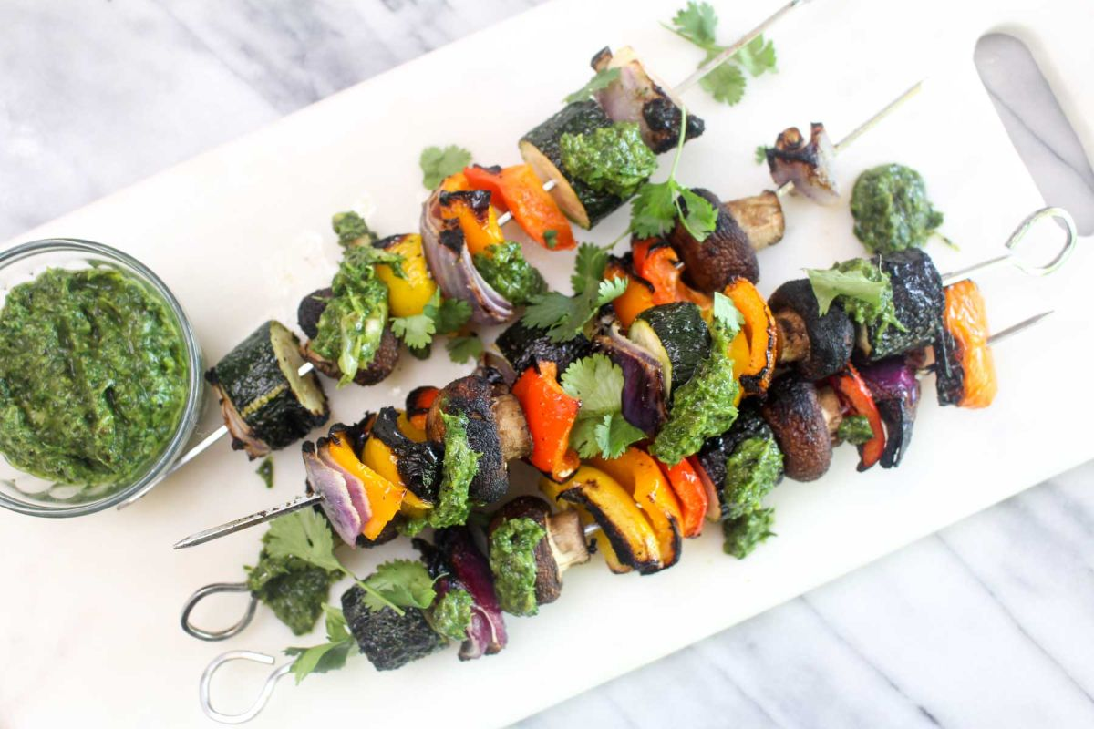 Vegan vegetable kabobs with charred scallion chimichurri