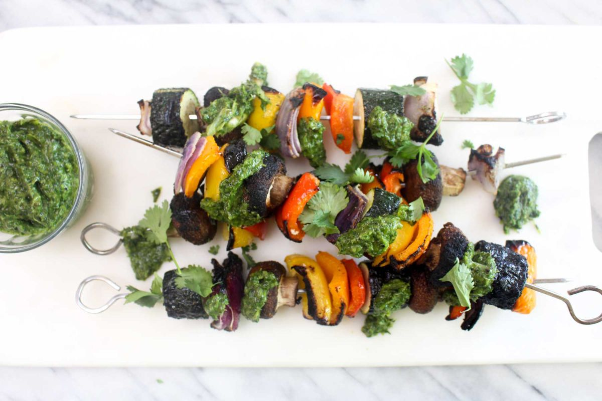 Vegetable kabobs with charred scallion chimichurri