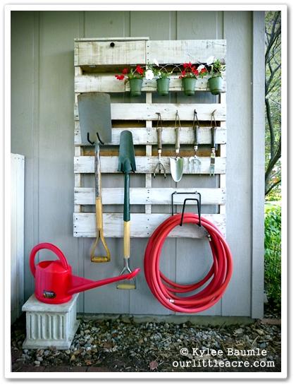 Wooden pallet garden tool organizer