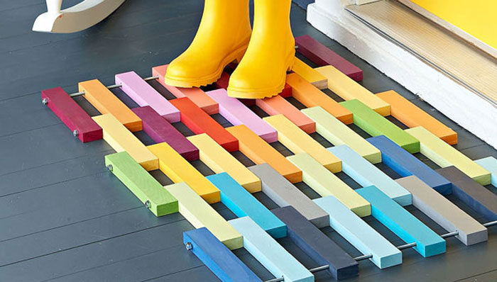 Wooden rainbow mat