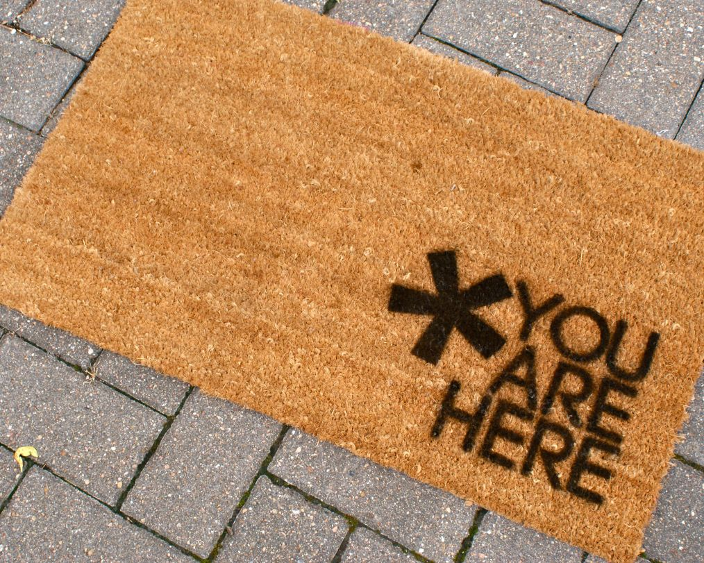 You are here door mat
