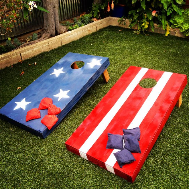 Bean bag toss boards stars stripes