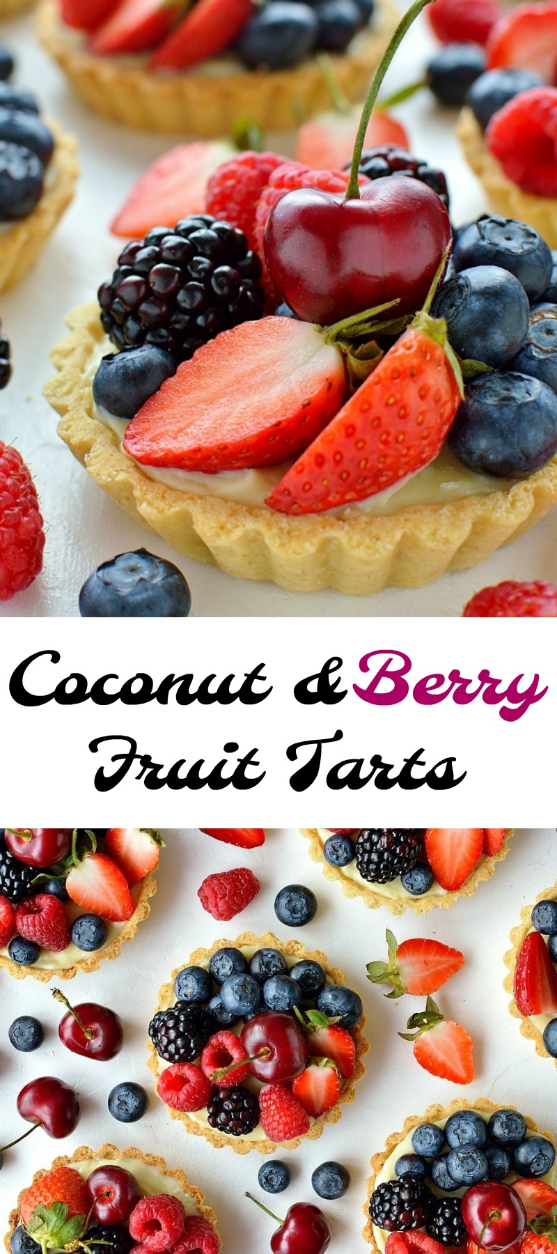 Coconut berry fruit tarts pinterest