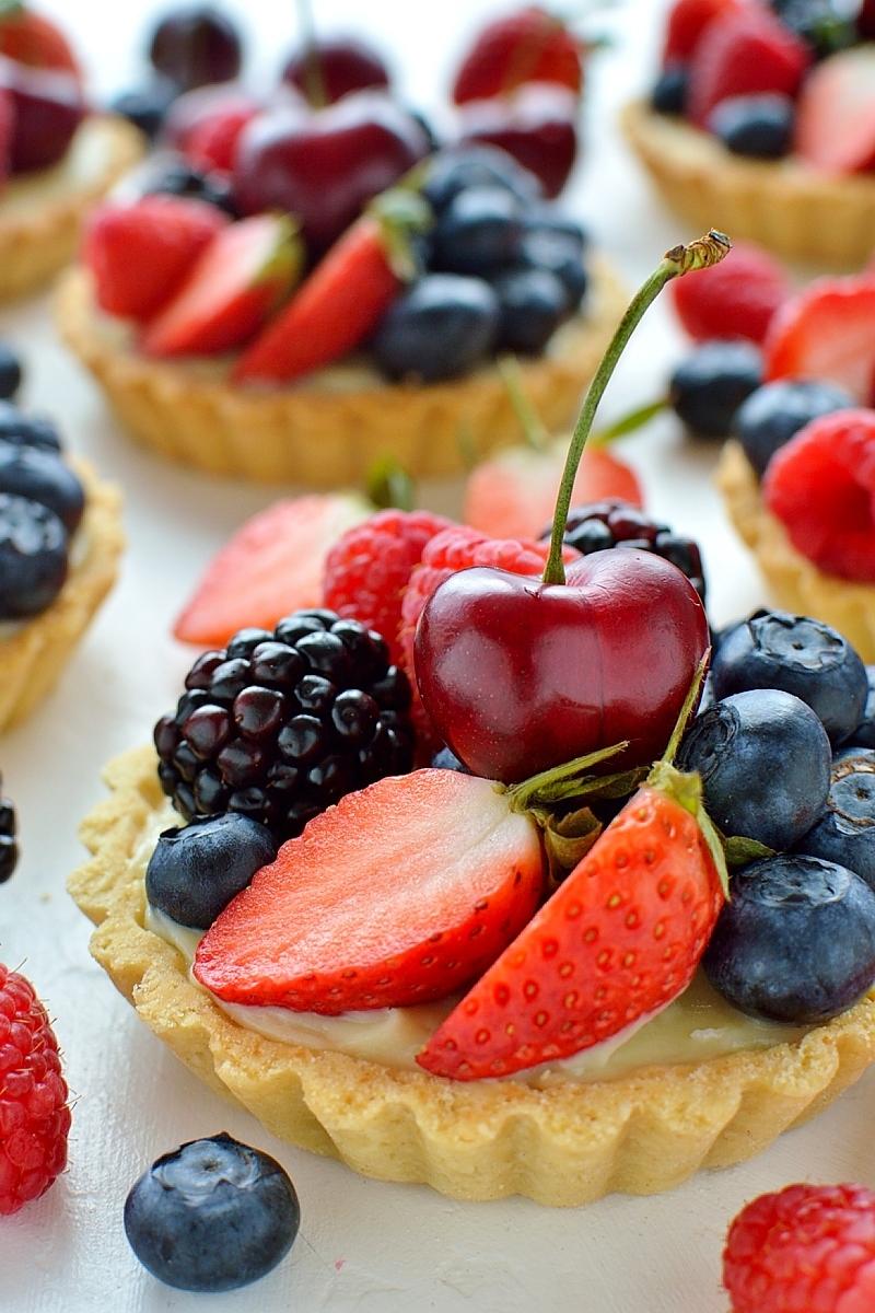 Coconut berry fruit tarts