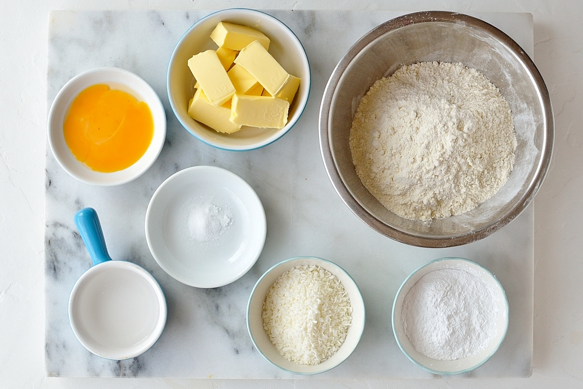Coconut fruit tarts pastry ingredients