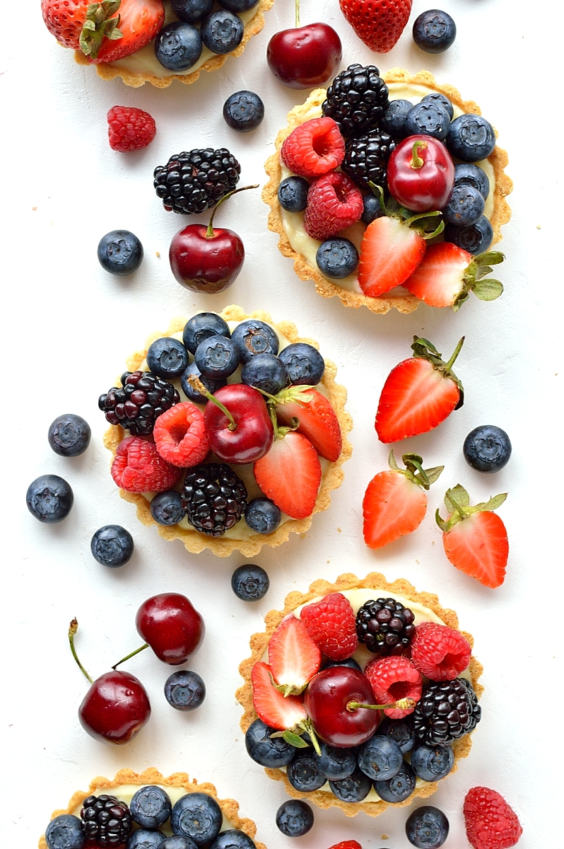 Coconut and berry fruit tarts - a perfect Summer dessert with a tropical twist.