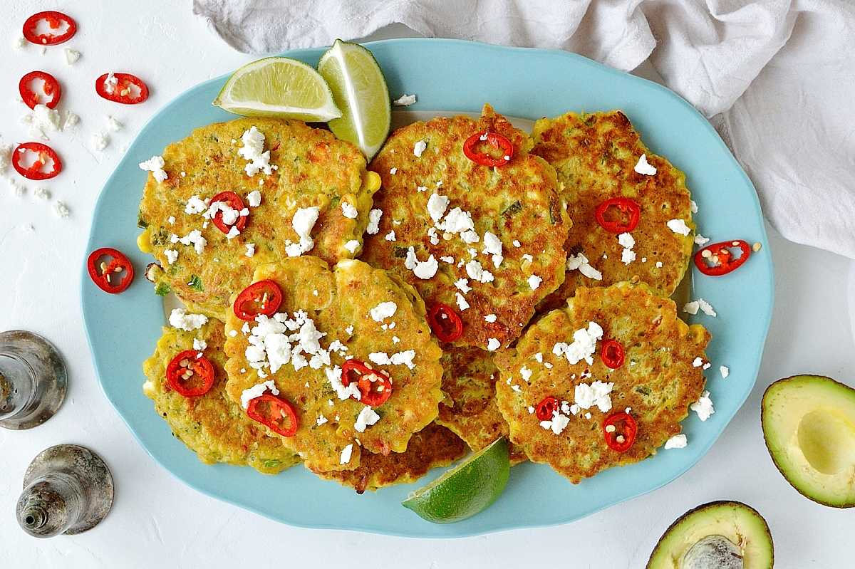 Sweetcorn and feta fritters - a quick and easy meal that all the family will love!