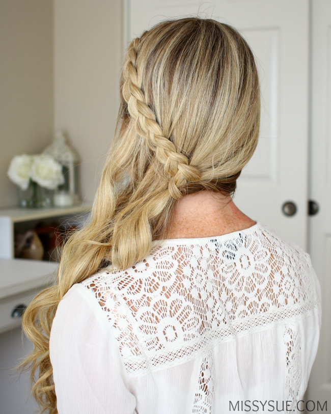 Dutch braid side swept hairstyle