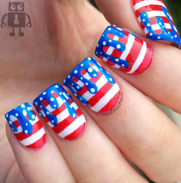 Fourth of july nail dripping