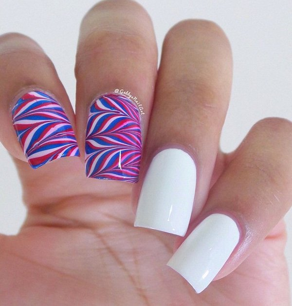 Fourth of july nail marbled