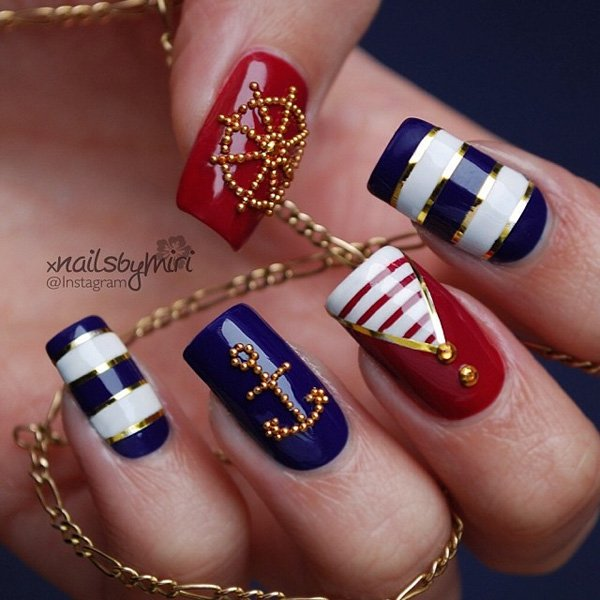 Fourth of july nail sailor design
