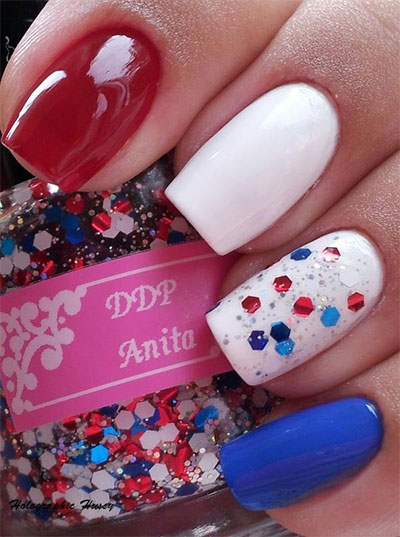 Glitter confetti july 4th nail design