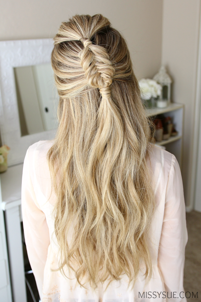 Halfup fishtail braid hairstyle