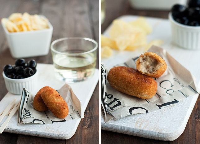 Ham and mushroom croquettes