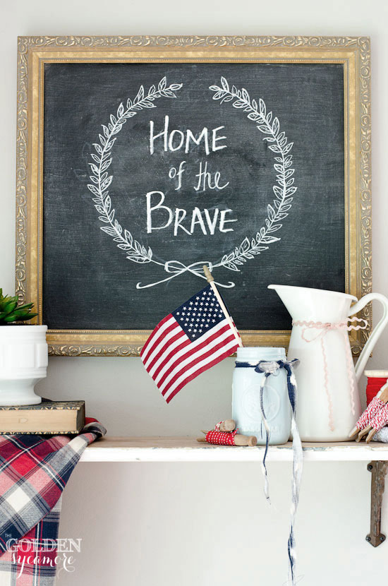 Home of the brave chalkboard art for independence day fourth of july1