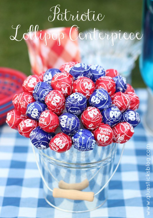 Lollipop centerpiece 4th of july diy