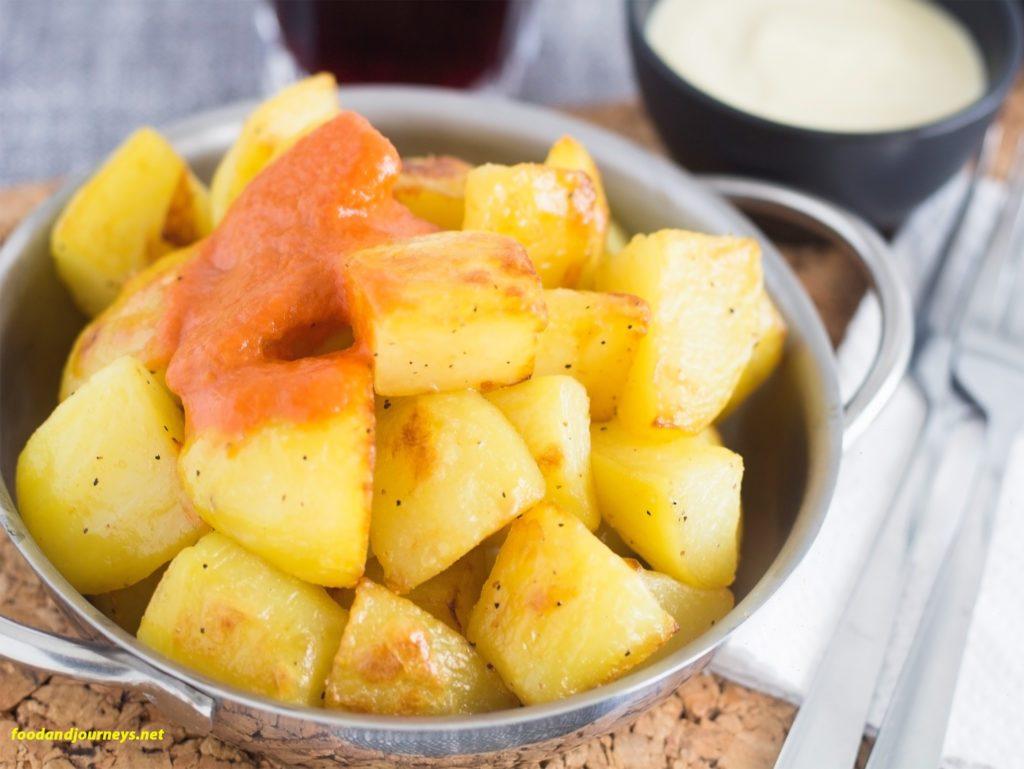 Oven roasted patatas bravas