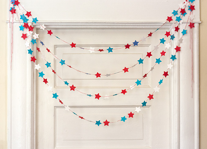 Paper star garland diy