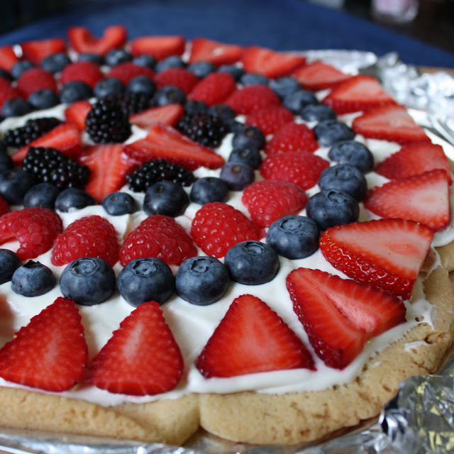 Red white and blue fruit cookie