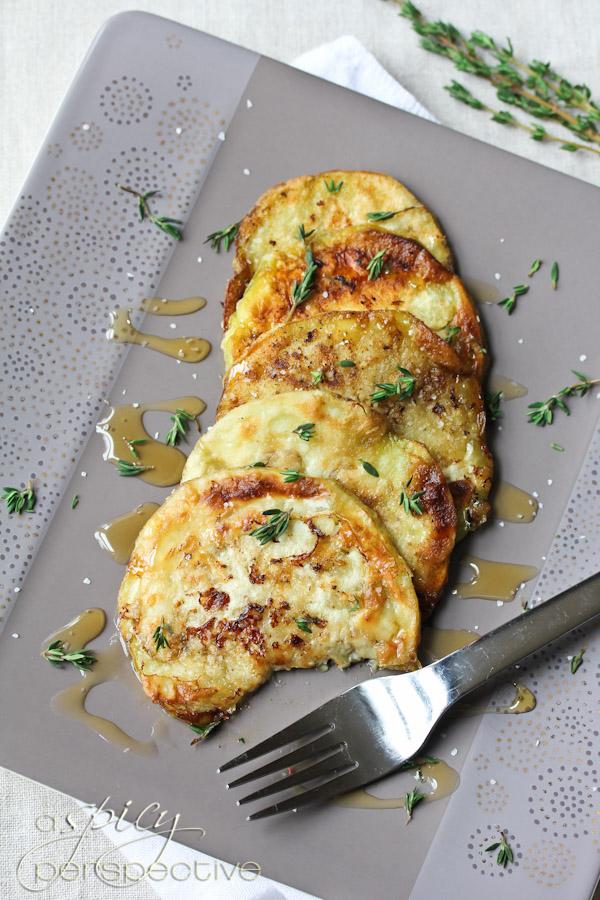 Sauteed eggplant with honey