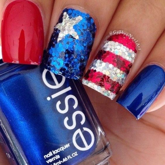 Sequins july 4th manicure